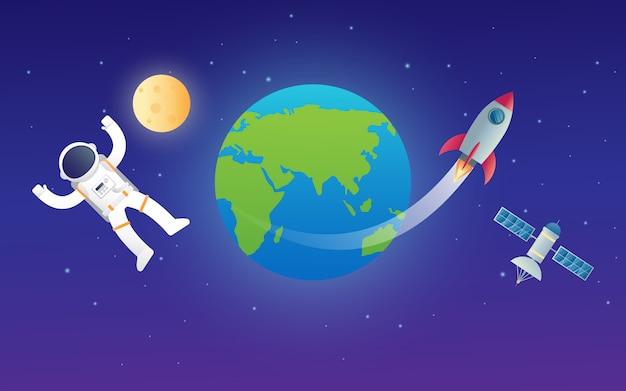 Illustrazione di progettazione di vettore del razzo della nave spaziale dell'astronauta con la luna ed il satellite che orbitano pianeta terra