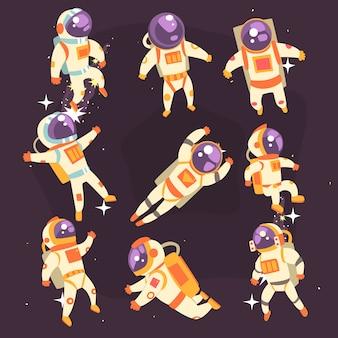 Astronauta in tuta spaziale fluttuante nello spazio aperto in diverse posizioni serie di illustrazioni,