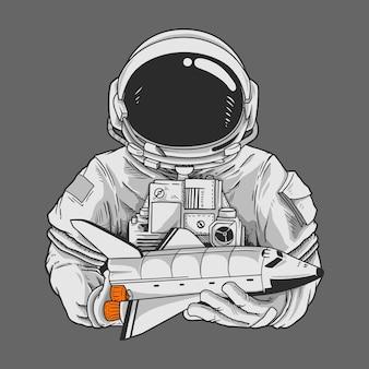 Personaggio di astronauta e astronave