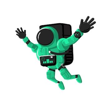 Astronauta in tuta spaziale, personaggio spaziale di concetto con il pianeta e scienza, illustrazione vettoriale