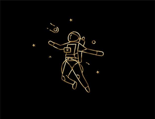 Astronauta nell'icona della tuta spaziale, illustrazione di disegno vettoriale.