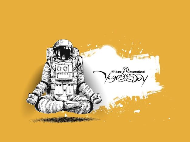 Astronauta in gesti di yoga tuta spaziale, illustrazione vettoriale di schizzo disegnato a mano.