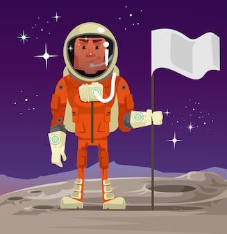 Astronauta in piedi sul pianeta e tenendo la bandiera. illustrazione del fumetto
