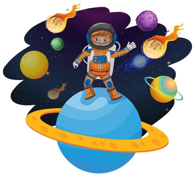 Astronauta in piedi su un pianeta