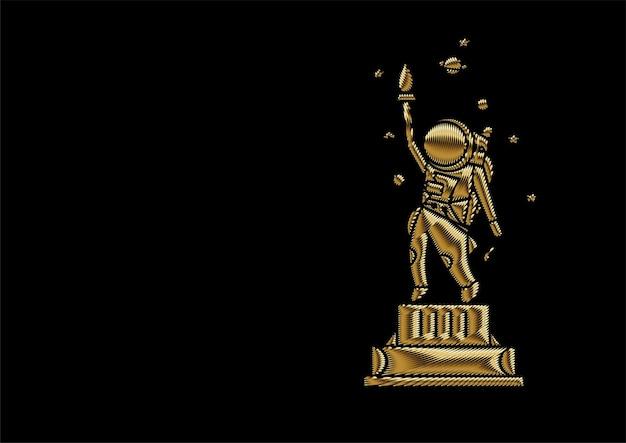Icona dell'astronauta statua della libertà, illustrazione di flat line art design.