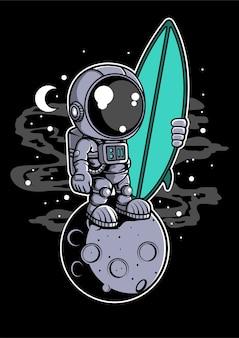 Personaggio dei cartoni animati di astronauta surfista