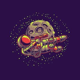 L'astronauta prende la mira con la pistola contro l'illustrazione della luna
