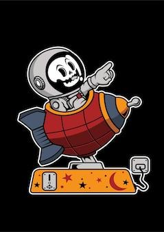 Illustrazione disegnata a mano di astronauta toy rocket