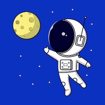 Astronauta che cerca di raggiungere la luna su sfondo blu universo cartone animato