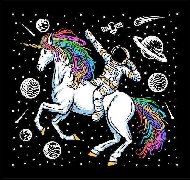 Illustrazione di astronauta e unicorno