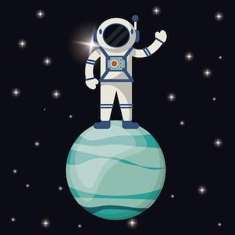 Astronauta nel pianeta urano