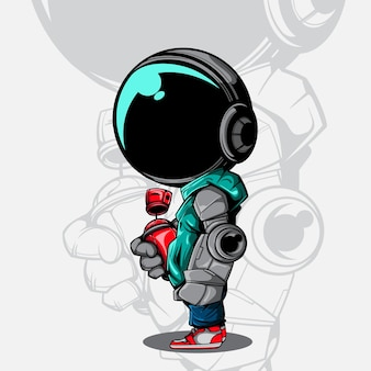 Illustrazione vettoriale di astronauta con mano robot e latta spruzzatore