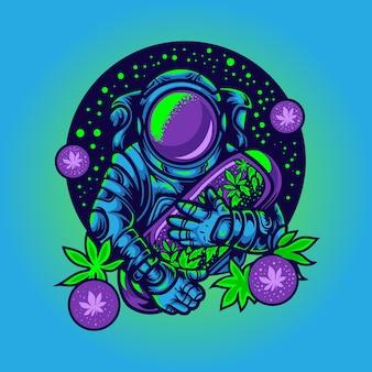 Astronauta con illustrazione di capsule di cannabis