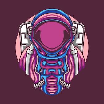 Astronauta con costume isolato sulla viola