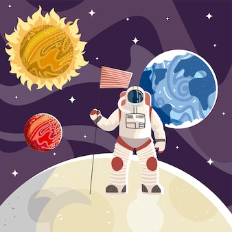 Astronauta con l'illustrazione dell'universo di esplorazione dello spazio della bandiera