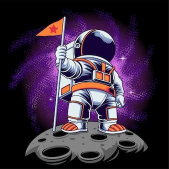 Astronauta con illustrazione vettoriale galassia su sfondo isolato