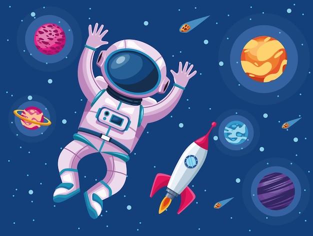 Astronauta con pianeti e illustrazione di scena dell'universo spaziale del razzo