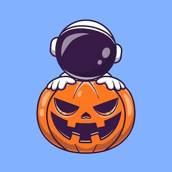 Astronauta con zucca halloween fumetto icona vettore. concetto dell'icona di vacanza scientifica isolato vettore premium. stile cartone animato piatto