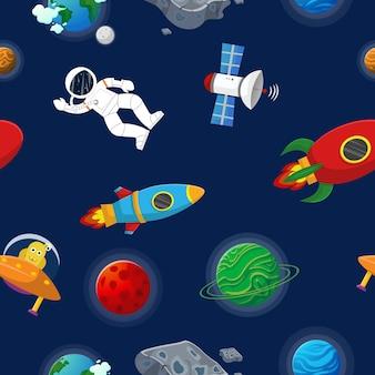 Astronauta con rucola e alieno nel modello senza cuciture galassia spazio aperto. stile cartone animato piatto