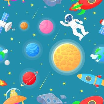 Astronauta con razzo e reticolo senza giunte alieno