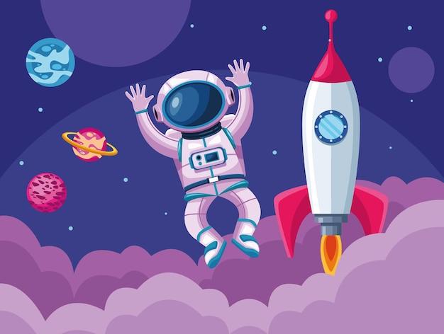 Astronauta con illustrazione di scena dell'universo spaziale razzo e pianeti