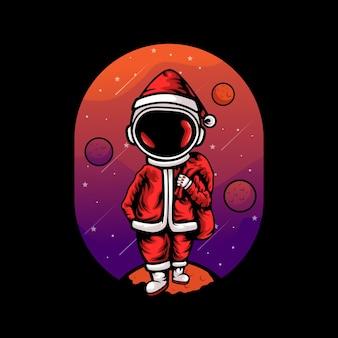 Astronauta con costume da babbo natale