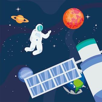 Astronauta con satellite e pianeti nello spazio dell'universo