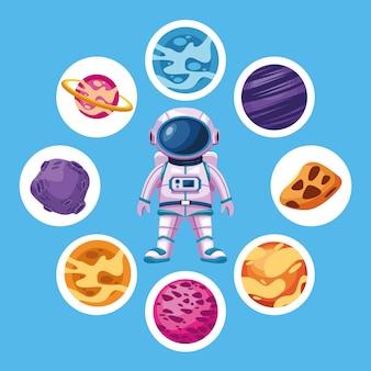 Astronauta con pianeti spaziali intorno all'illustrazione degli elementi