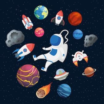 Astronauta con set di icone di spazio