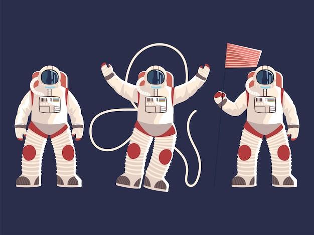 Carattere degli astronauti in uniforme del casco di tute spaziali con illustrazione dello spazio della bandiera