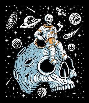 Astronauti che bevono caffè sull'illustrazione del pianeta del cranio