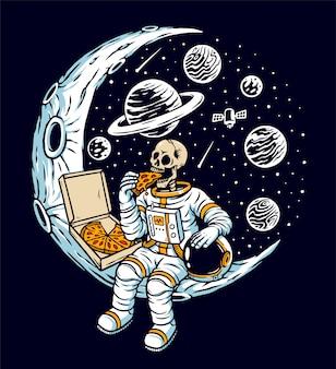 Gli astronauti mangiano la pizza sull'illustrazione della luna