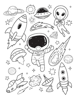 Gli astronauti esplorano il doodle dello spazio esterno