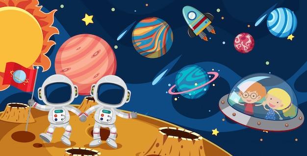 Astronauti e bambini in ufo