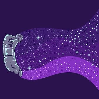 Astronauti che giocano a basket isolati in viola