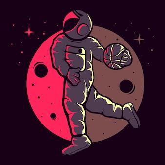 Astronauti che giocano a basket divertente