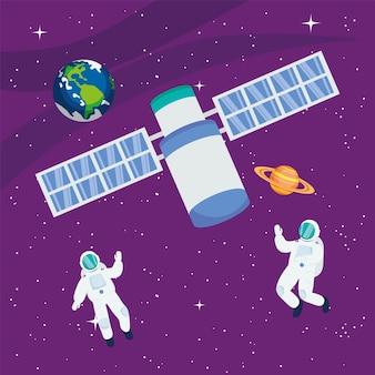 Astronauti satellite terra e saturno nello spazio dell'universo