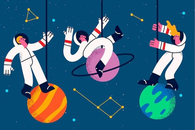 Astronauti e astronauti durante il concetto di lavoro. un gruppo di tre giovani cosmonauti in giacca e cravatta che levitano nello spazio vicino a pianeti e galassie intorno all'illustrazione vettoriale