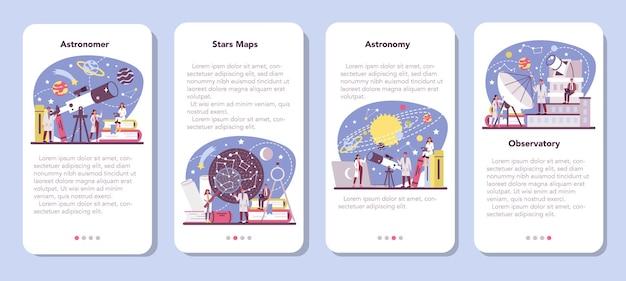 Set di banner per applicazioni mobili di astronomia e astronomo.