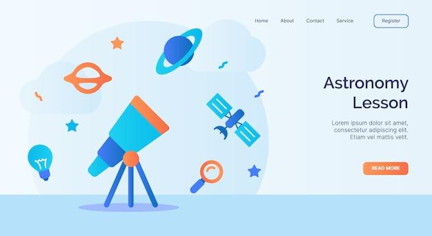 Campagna dell'icona dello spazio satellite del telescopio di lezione di astronomia per l'insegna del modello di atterraggio della pagina iniziale della pagina web del sito web con stile piano del fumetto.