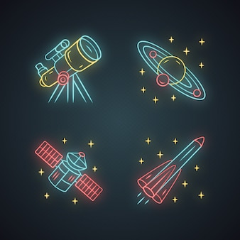 Set di icone di luce al neon di astronomia. esplorazione dello spazio. telescopio, sistema solare, satellite artificiale, razzo. astrofisica.