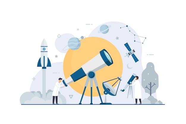 Ricerca spaziale di astronomia con illustrazione di scienziato minuscolo piatto