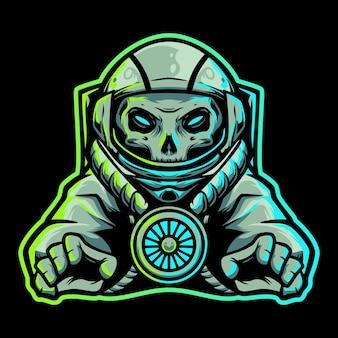 Logo della mascotte di astronot skull space esport