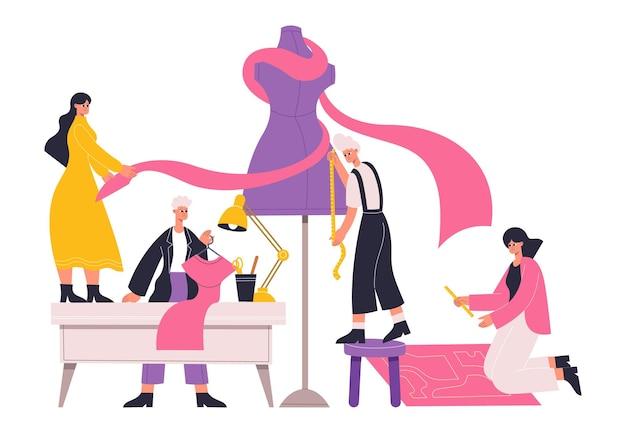 Atelier sarta, sarti, stilisti lavorano con manichini sarti. i designer di abbigliamento lavorano, sartoria e processo di sartoria illustrazione vettoriale. laboratorio di cucito con sarta professionista
