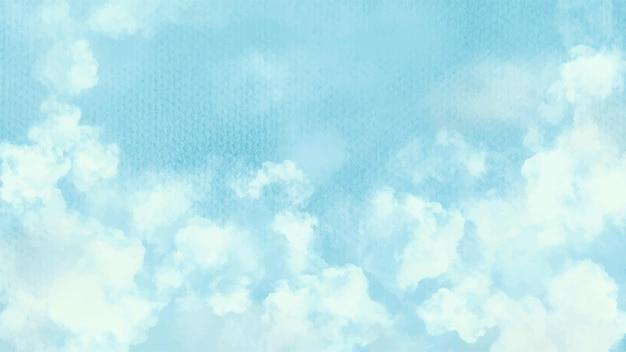 Atercolor cielo blu e sfondo di nuvole