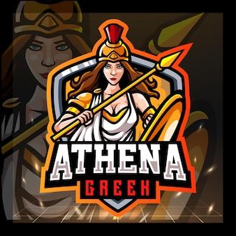Athena mascotte greca esport logo design