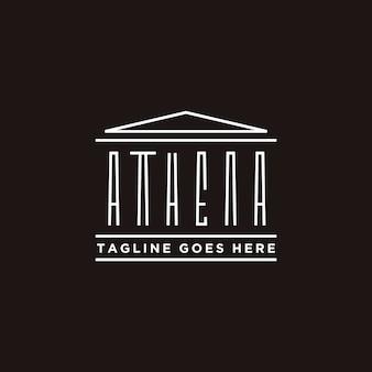 Tipografia di athena con design del logo di edificio storico greco
