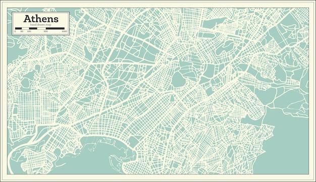 Atene grecia mappa in stile retrò. illustrazione di vettore. mappa di contorno.
