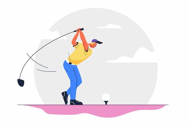 Giocatori di golfista maschio dell'atleta con mazze da golf sul corso sport all'aperto o illustrazione di hobby