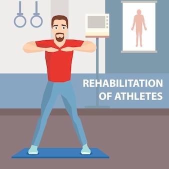 Annuncio di riabilitazione fisioterapica dell'atleta